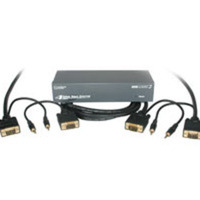 4-Port UXGA Monitor Splitter/Extender with 3.5mm Audio Plus (2) 50ft HD15 UXGA with 3.5mm Audio Monitor Cables