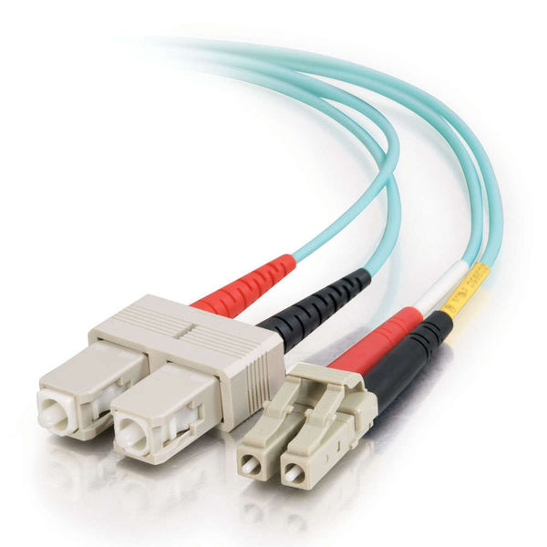 C2G 10m LC-SC 10Gb 50/125 OM3 Duplex Multimode Fiber Cable - Aqua (Plenum)
