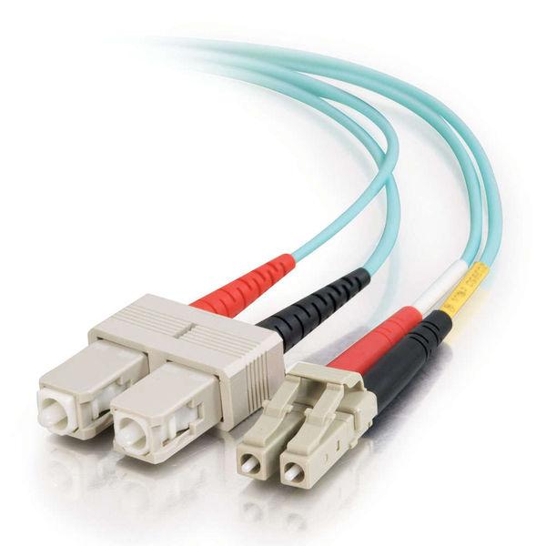 C2G 10m LC-SC 10Gb 50/125 OM3 Duplex Multimode Fiber Cable - Aqua (TAA)