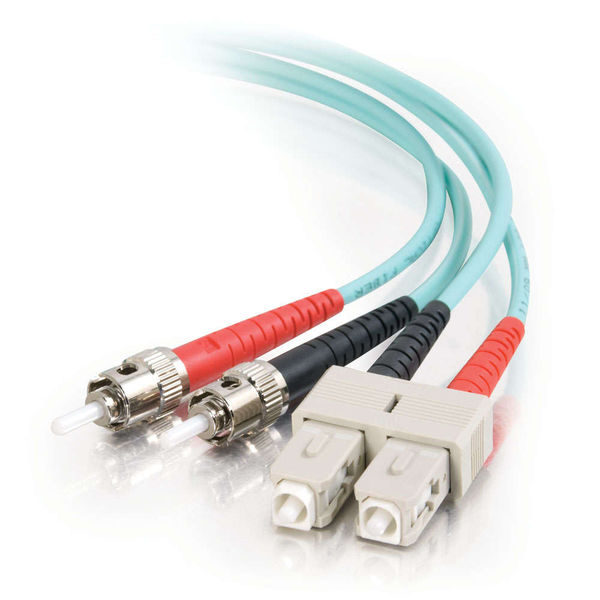 C2G 10m SC-ST 10Gb 50/125 OM3 Duplex Multimode Fiber Cable - Aqua (TAA)
