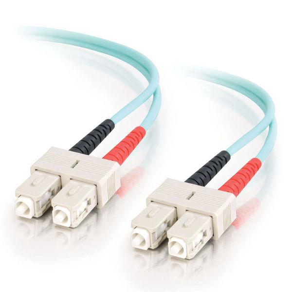 C2G 10m SC-SC 10Gb 50/125 OM3 Duplex Multimode Fiber Cable - Aqua