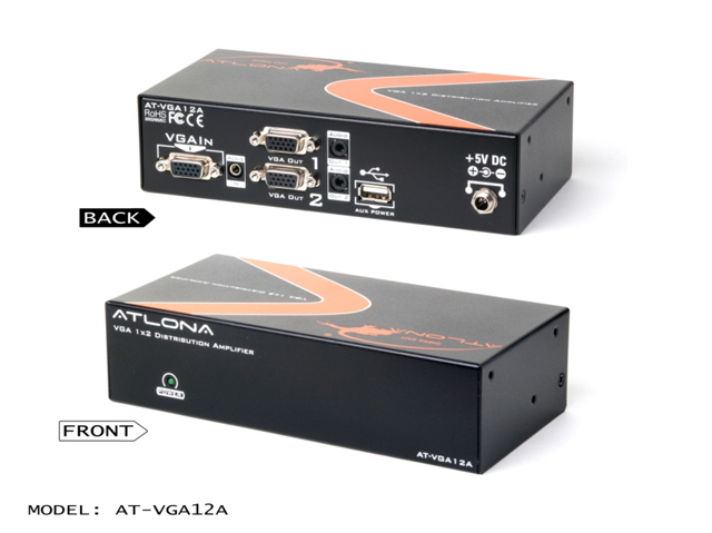 AT-VGA12A 1x2 VGA Distribution Amplifier with Audio