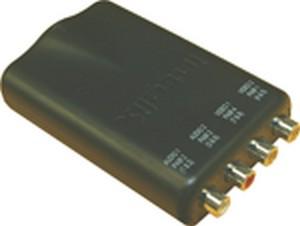 IDual Composite Video and Analog Stereo Audio Balun, 4 Female RCA to 1 RJ45
