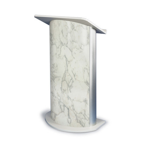 Bianco Marble Lectern with Satin Anodized Aluminum, Curved Front Design