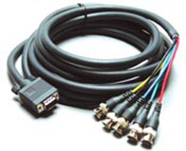Kramer C-GF/5BM-1 1ft Molded 15-Pin HD (F) to 5 BNC (M) Breakout Cable