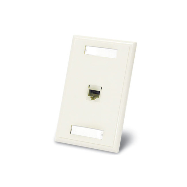 C2G 27414 One Port Cat5E RJ45 Configured Single Gang Wall Plate - White