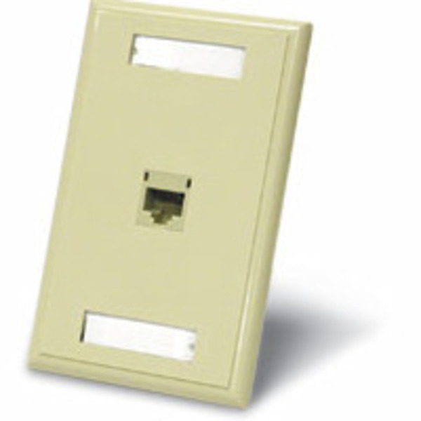 C2G 27415 One Port Cat5E RJ45 Configured Single Gang Wall Plate - Ivory