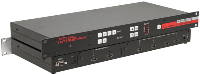 Hall Research HSM-04-02 4x2 HDMI Matrix Switch with RS232 Control