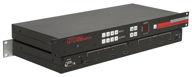 Hall Research HSM-04-04 4x4 HDMI Matrix Switch with RS232 Control