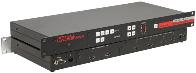 Hall Research HSM-I-04-02 4x2 HDMI Matrix Switch with RS232 and IP Control