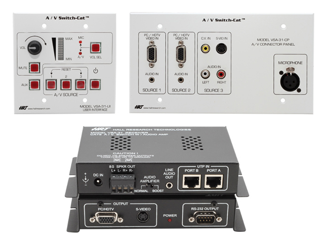Hall Research VSA-31-SP-W 3-input A/V Switcher (Split Version - White Wallplate)