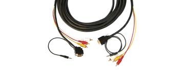 Kramer CP-MH1/MH1/XL-35 15-pin HD, 3.5mm + 3 RCA to Backshell (45°) - 35 ft