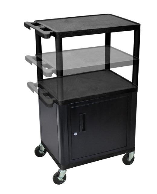 Luxor LEDUOC-B Endura Multi-Height AV Cart w/ 3 Shelves & Locking Cabinet