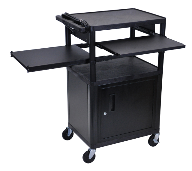 Luxor Endura Black 3 Shelf Presentation Cart w/ Cabinet & 2 Pullout Shelves
