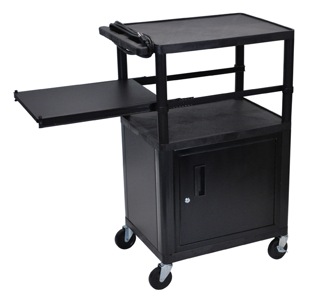 Luxor Black Endura 3 Shelf Presentation Cart w/ Cabinet & Side Pullout Shelf