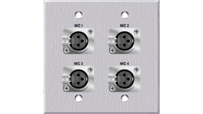 Double Gang Faceplate with 4 XLR Female,Clear Annodized in Color