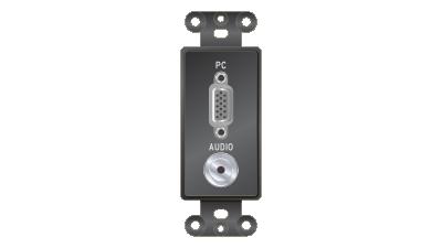 Liberty Decor-Style VGA F/F & 3.5mm Stereo Pass-Thru Insert, Black Faceplate