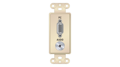 Liberty Decor-Style VGA F/F & 3.5mm Stereo Solder Insert, Ivory Faceplate