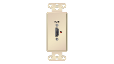 Décor Insert with HDMI Passthru Labeled in.HDMIin., Ivory Faceplate