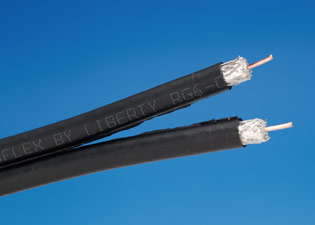 Liberty RG6Q-CM-SIAM-BLK Dual RG6 Quad Shield Coaxial Cable, Black