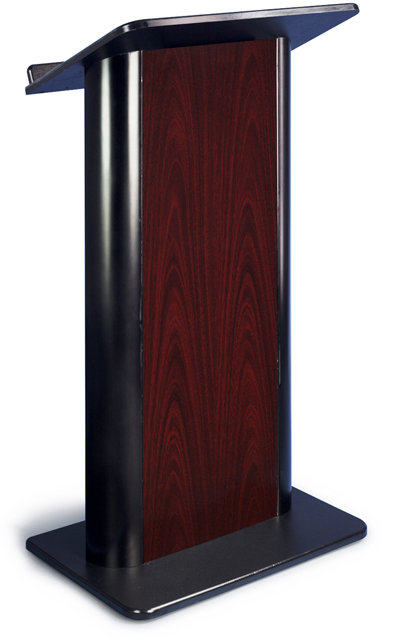 Jewel Mahogany Lectern with Black Anodized Aluminum, Flat Front Design