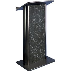 AmpliVox SN3095 Pyrenees Marble Lectern, Black Anodized Alum., Flat Front
