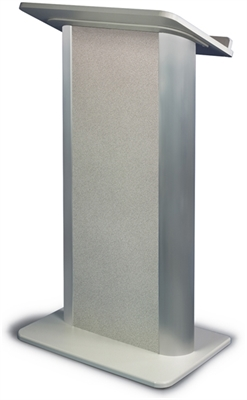 Gray Granite Lectern with Satin Anodized Aluminum, Flat Front Design