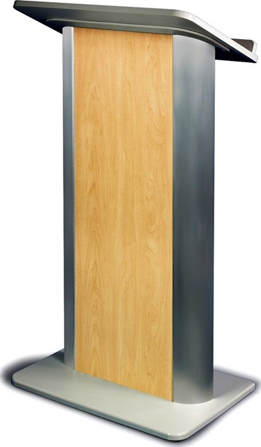 Hardrock Maple Lectern with Satin Anodized Aluminum, Flat Front Design