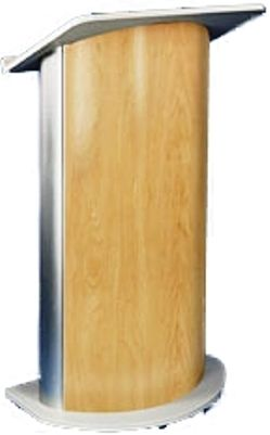 Hardrock Maple Lectern with Satin Anodized Aluminum, Curved Front Design