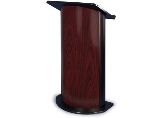Jewel Mahogany Lectern with Black Anodized Aluminum, Curved Front Design