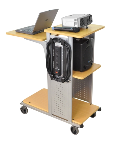 Mobile Presentation Station, 7-outlet Electric Assembly, Nickel Steel Side