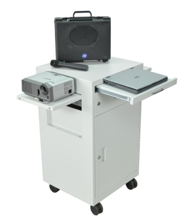 Multimedia AV Cart with Locking Cabinet