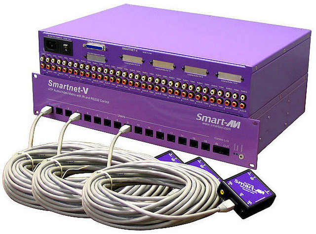 SmartAVI SNV16X08S Composite Video/Audio/IR over CAT5 16x8 Matrix, RS-232