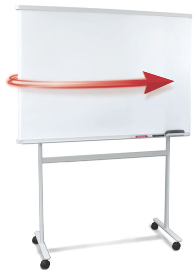 Whiteboard with Rotating Surface, 47 x 34 Inch Writing Area