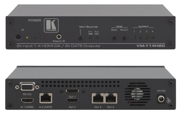 Kramer VM-114H2C 2x1:4 (2 HDMI & 2 Twisted PairTransmitter) Distribution Amp