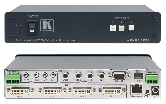 3x1 HDCP Compliant DVI, Stereo & S/PDIF Audio Standby Switcher