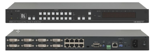 8x8 DVI Matrix Switcher with Twisted Pair Outputs