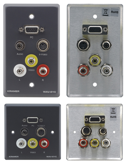 Passive Wall Plate - 15-pin HD, 3.5mm Stereo Audio, s-Video & 3 RCA