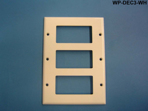 Decorator Style Triple Gang Wall Plate, White