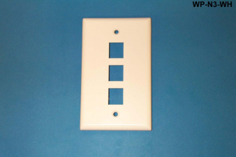 3 Port Single Gang Wall Plate, White