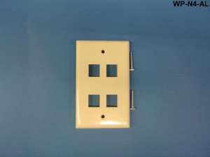 4 Port Single Gang Wall Plate, Almond