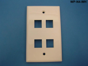 4 Port Single Gang Wall Plate, White