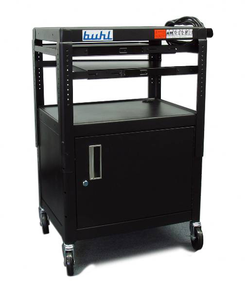 Buhl CABT4226E-5 Adjustable Media cart, Security Cab. - 2 Pull-Out Shelves