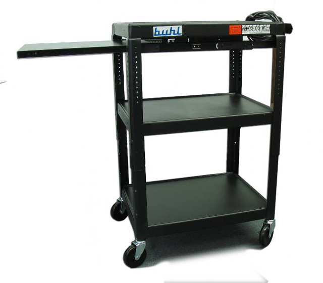Buhl EXTM4226E-5 Adjustable AV Media Cart - 3 Fixed shelves, 1 Pull-Out
