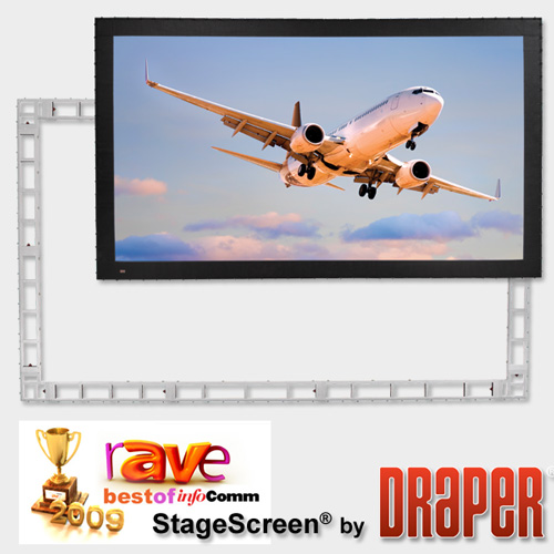 Draper 383508 StageScreen (black), 226in, 16:10, Matte White