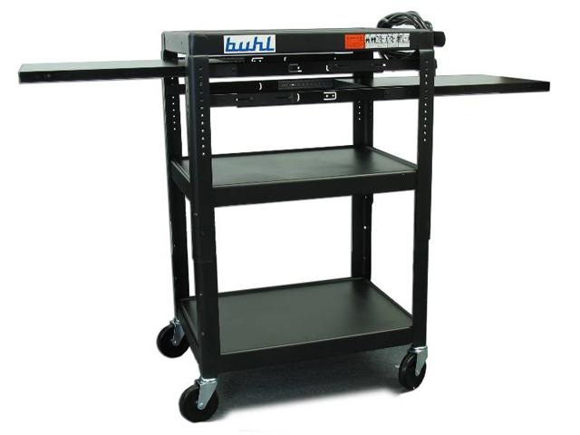 Buhl TPOS4226E-5 Adjustable AV Media Cart - 3 Fixed Shelves, 2 Pull-Out