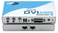 Extends DVI and Digital/Analog Audio signals up to 150 ft via two CAT-5e