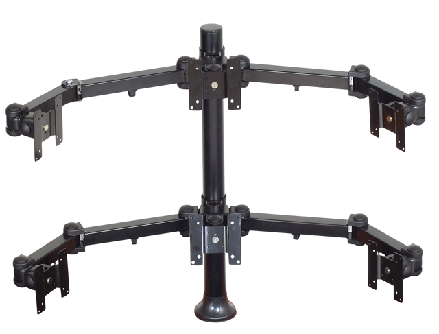 Premier Mounts MM-AH286 2 Triple Display Arms on 28in. Tube with Grommet Base
