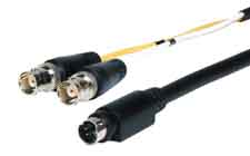 HR Pro Series S-Video 4 pin plug to 2 BNC jacks breakout cable 18in
