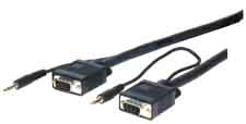 HR Pro Series VGA w/Audio HD15 pin Plug to Jack Cables 35ft